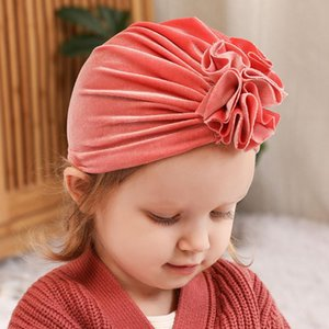 Brand new Flower hats Baby turban Top knot beanie Gold Velvet turban hat Baby girl's winter top hat Kids warm beanie hats H176S
