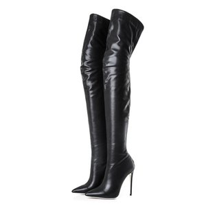 Ins hot Women boots big size 22-27.5cm Autumn and winter Fashion elastic patent leather women's boots over the knee 12cm heel 201009