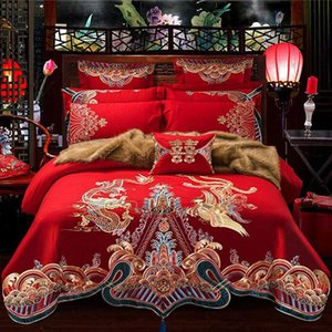 cotton home textile Luxury wedding kit duvet cover set Chinese traditional embroidered wedding bedding set 6pcs 7pcs 8pcs 10pcs