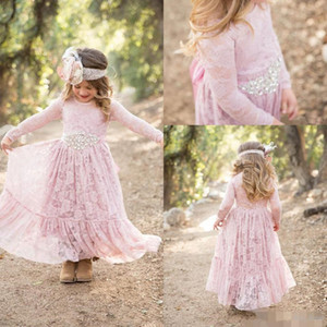 Vintage Lace Flower Girls' Dresses Long Sleeves 2021 Jewel Neck Ankle Length Beaded Crystal Rhinestones Kids Formal Wear Birthday Party Gown