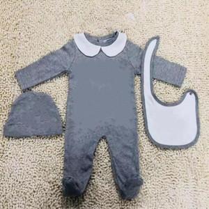 Nova Moda Crianças Bebê Roupa Definir Bonito Recém-nascido Infantil Bebê Meninos Carta Romper Bebê Baby Boks Cap Roupas Set Burp Phoots