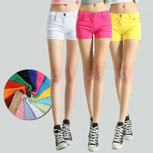 FSDKFAA 2020 Estate Donne Candy Color Shorts Jeans Donne Solid Slim Slim Elastico Casual Shorts Comfort Streetwear Jeans1