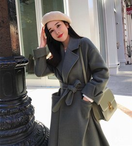 Bella philosophie 2020 automne hiver femmes ceinture manteau col rabattu femmes dames manteau de laine en vrac vestes épaisses solides