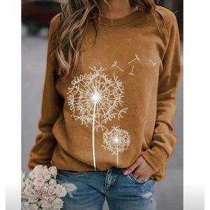 Женские повседневные мягкие одуванчики напечатаны круглые шеи с длинным рукавом свитер свободных перемычек