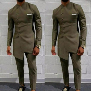 Vestuário Africano Vintage para Homens Homens Long Wedding Terno Homens Attire Terno do Noivo Slim Blazers Fit Mens Casaco Casaco + Pants1