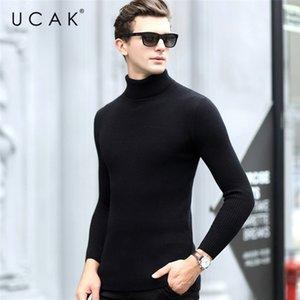 Massivfarbe gestreifte elastische Rollkragenpullover Männer Kleidung UCAk Marke Winter Klassische Baumwolle Streetwear Pullover Pull Homme U1021 201118