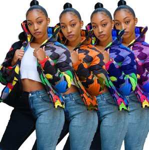 Unisex Plus Size Cotone Giacca imbottita in cotone Puffer Trapunte Cappotto Camouflage Design Spessore Wabbed Giacche Moda Outwear Antivento Vento Top caldo F110303