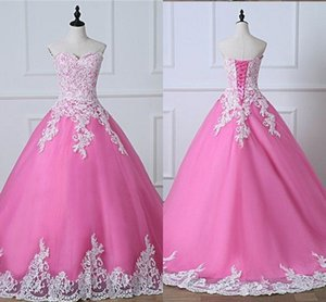 Pink Wedding Dresses Whitr Lace Strapless Corset Back Tulle Formal Party Dress Womens Long Bridal Gowns For Bride Real Image Cheap