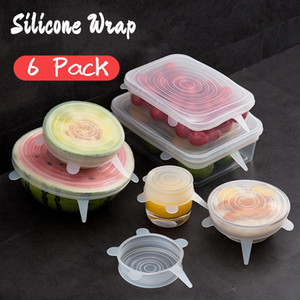 SET Wiederverwendbare Silikon-Nahrungsmittel Wrap Expanded Scratch Lids Universal-Scratchy Abdeckungen für Bowl Tassen Dosen Multifunktionale Frische Saver OWD2333