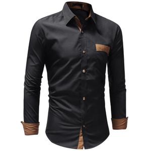 New 2020 Autumn Dress Shirts Pocket Decoration Mens Casual Shirt Fashion Design Men Plus Size 3XL Slim Camisa Masculina