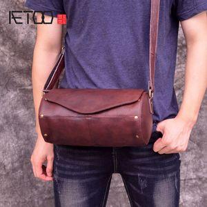 Bolsa de cilindro cabeça retro HBP AETOO, saco de balde de esportes único de ombro, saco crossbody de couro artesanal