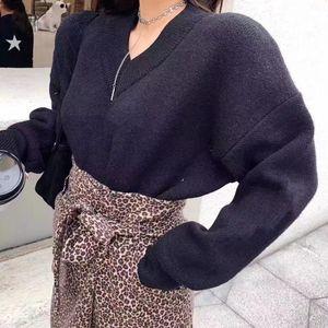 2020 новой женской одежды, мода простой стиль темперамент свитер, черно-белый повседневный дикий стиль, бесплатная доставка, если вы не понимаете,