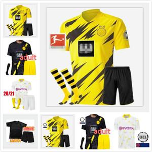Haaland 9 Dazard 10 Borussia 20 21 Jersey Soccer Emre Can 23 2020 2021 T-shirt de football 110th Sancho Reus Hummels Hummels Hommes + Kit Kit
