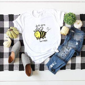 Dont Worry Glücklich Printed 100% Be Baumwolle Kurzarm Frauen-T-Shirt beiläufige weiche Female T-Shirt Frauen Plus Size Top 5XL