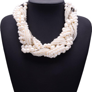 BK Bib Choker Pearl Necklace for Women Multi Layers Simulated-pearl Beads Chain Cluster Choker Statement Bib Pendant Jewelry