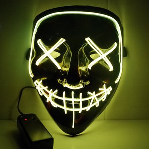 Halloween Horror mask LED Glowing masks Purge Masks Election Mascara Costume DJ Party Light Up Masks Glow Dark Free Shipping