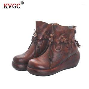 KVGC Automne et hiver Nouvelles dames Fashion All-match Cuir de haute qualité Cuir à la main Semelle plate à semelle unique de style rétro de style rétro brun boots1
