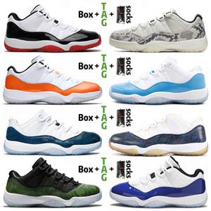 nike air jordan retro 11 11s 2021 Jumpman 11 11s XI Düşük Erkekler Basketbol Ayakkabı Concord Mavi Bred Beyaz Yılan Yeşil Gri Metalik Gümüş Kadın Erkek Eğitmenler Spor Sneakers