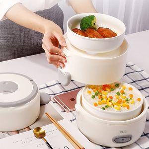 2l الكهربائية الصغيرة مصغرة البخار البخار طباخ الأرز السفر الغذاء cuiseour multicooker 2PCS السيراميك حساء وعاء الداخلية ل صناديق الغداء 220 فولت T200429
