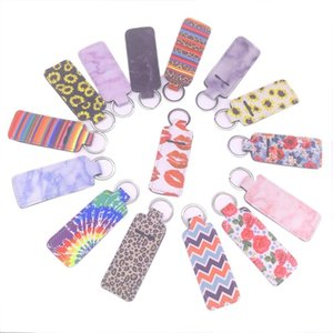 Chapstick Keyrings Neoprene Keychain Marble Printed Cover Lipstick Holder Bag Wristband Fashion Jewelry Gift 15 Designs 20pcs OWF2199
