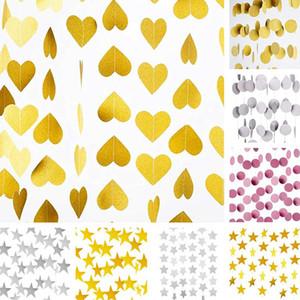 1set Paper Gold Star ronde bannière Guirlandes 2m anniversaire cordes chaîne Bannière Ornements Rideau de soirée de mariage Fournitures Décor Salle qylXnr