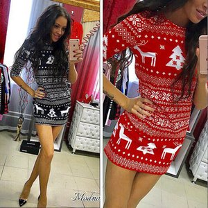 TOYHOUSE 2020 New High Quality Hot Sale Christmas party dress slim mid-sleeve fawn print jumpsuit miniskirt