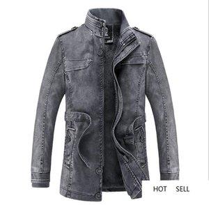 Hommes PU avec Leathers Homme Automne Hiver chaud Gardez pied de col Bouton Fermeture éclair Jupettes Manteaux Hommes Outwears Mode