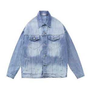 European station 20ss fashion stone back yellow letter embroidery men and women same denim mens jacket motorcycle jacket