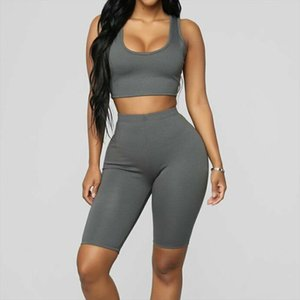 two piece set Summer Casual Women Sports Set Gym Running Skinny Clothing Solid Workout Sleeveless Crop Top and Pants Set 2019