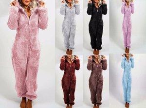 Kadın Uzun Kol Kapşonlu Tulum Pijama Günlük Kış Genel Rompe pijamalar Uzunluğu Katı Gevşek Nedensel Jumpsuit Pantolon Isınma