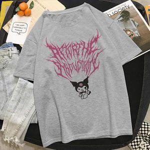 Kuromi Kawaii Cartoons Print T shirt Women Summer Harajuku Aesthetic Streetwear Tshirt Korea Y2k Hip Hop Female Short Sleeve