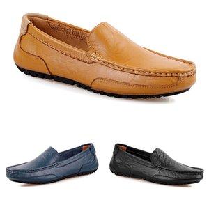 Nuevos zapatos de guisantes para hombres sin marca de cuero casual moda transpirable azul marrón negro perezoso sobreshoes zapatos para hombre 38-44