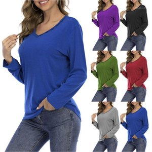V Neck Buttons Long Sleeve Sports Tops Tees Spring New Female Plus Size Casual Loose Tshirts Women Solid Colors T-shirts Fashion Trend