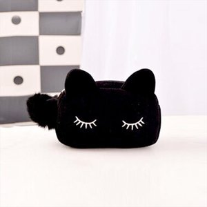 Women Cosmetic Bag Cute Pom Pom Cat Pattern Makeup Case Female Organizer Bag Black Blue Pencil Case