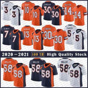 58 von Miller Football Jersey 30 Phillip Lindsay 10 Jerry Jeudy 3 Drew Lock 14 Courtland Sutton 55 Bradley Chubb 13 KJ Hamler 5 Joe Flacco