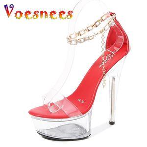 Chaussures de banquet de Voesnees Femmes Sandales Été 2021 Nouveau Talons Talons transparents Plate-forme Crystal Crystal String Bead Chaussures