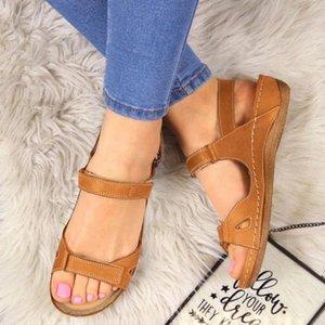 PUIMENTIUA 2020 Women Flat Sandals Summer Open Toe Solid Faux Leather Women Shoes Casual Platform Rome Ladies Shoes High Heels Heels F 7OIE#