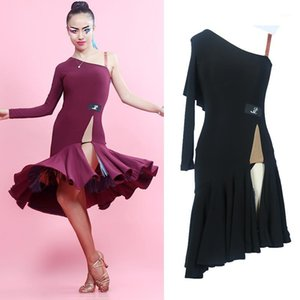 High Quality Ballroom Latin Dance Competition Dress For Women Sexy One Sleeved Split Leaf Dresses Female Dancewear DWY18611