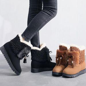 NAUSK Kadınlar Doğal Gerçek Kürk kar botları Moda Boots For Women Yüksek Kalite Orijinal İnek Deri Kış Ayak bileği