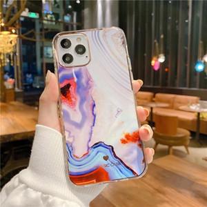 Galvanoplastie Marble Texture en plastique dur Cas de téléphone pour l'iPhone 11 12 Mini Pro Max Ultra Thin Phone Housse Case