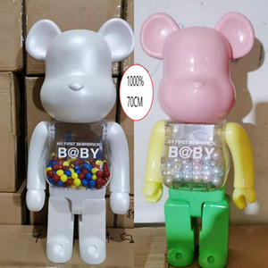 HOT 1000% 70CM Bearbrick Evade glue White Pink and Blue bear figures Toy For Collectors Be@rbrick Art Work model decorations kids gift