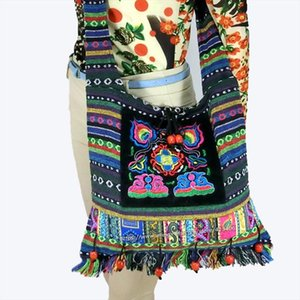 Free shipping Vintage Hmong Tribal Ethnic Thai Indian Boho shoulder bag message bag linen handmade embroidery Tapestry SYS 083F
