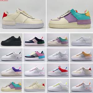 Force 1 Shadow AF1 2021 Herren Frauen Plattform Mode Sneakers Schatten Beige Blasse Elfenbein Truppen Schwarz Weiß Fichte Aura Flamingo Mystic Navy Weizen Sportturnschuhe