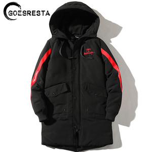 GOESRESTA Men Coat Jacket Cotton Clothing Fashion Casual Warm Long Winter Versatile Trend Hooded Ultralight Cotton Clothing Men 201028