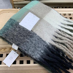 High quality 4 color Wool scarf new rainbow grid fringed shawl for male and female classic style free shipping