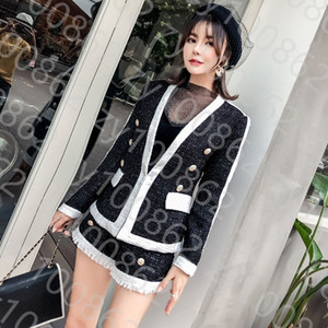 2021 spring and autumn tweed small fragrant milk fashion suit new Celebrity Slim short coat + shorts two piece set