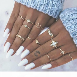 Gold Knuckle Ring Set Diamond Crown Bow Moon Star Rings Combination Stacking Ring Midi Rings Women Jewelry will and sandy gift