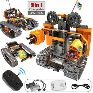 3 in 1 Technic Building Blocks RC Stunt Car City Remote Control Robot Toys Track Car STEM Bricks Constructor Toys For Children 201211