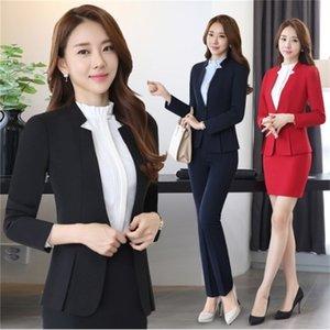Traje para mujer Negro Azul Gris Rojo para Business Casual Blazer y mini falda conjunto de mujeres Faldas Suite Plus Tamaño 4xl