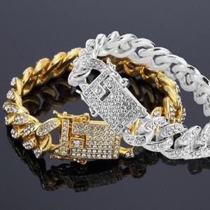 Hip Hop Men Shiny Rhinestone Inlaid Bangle Cuban Link Chain Bracelet Jewelry